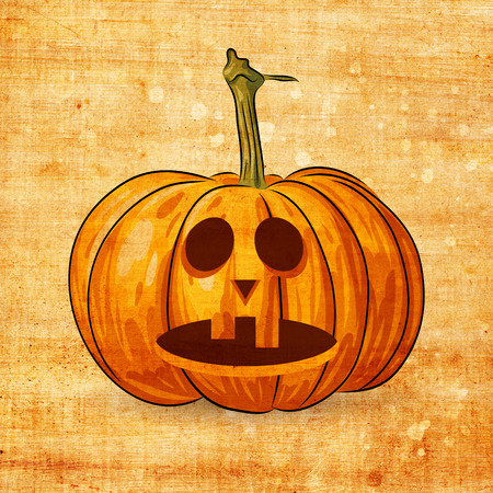 jack o   lantern: Scary Jack O Lantern halloween pumpkin on grunge background