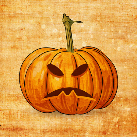 Scary Jack O Lantern halloween pumpkin on grunge background