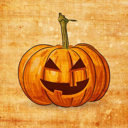 smilling: Scary Jack O Lantern halloween pumpkin on grunge background