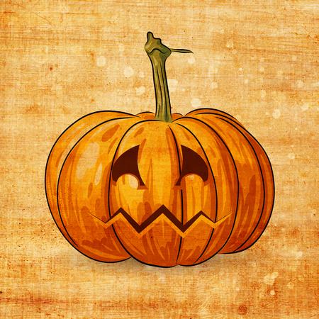 haunting: Scary Jack O Lantern halloween pumpkin on grunge background
