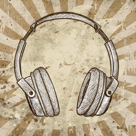 headphones: headphones against grunge background with scratches and stains Stock Photo