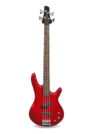 rock and roll: vector realistic illustration of red bass guitar. EPS