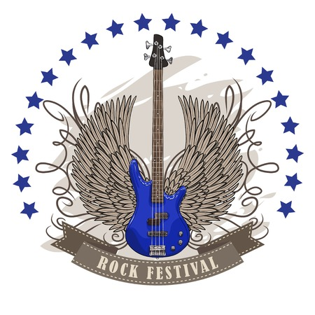 winged: vector poster for rock festival with winged guitar. EPS Illustration