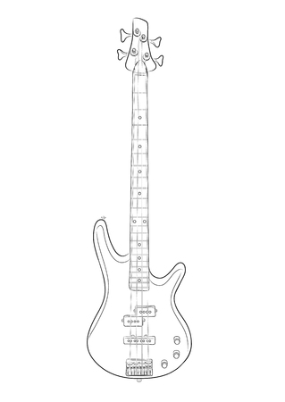 photoreal: vector illustration of bass guitar in contour. EPS