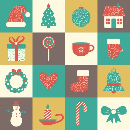 sixteen: vector set of sixteen colorful christmas icons. EPS Illustration