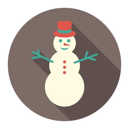 eps vector icon: vector round flat icon with colorful snowman. EPS