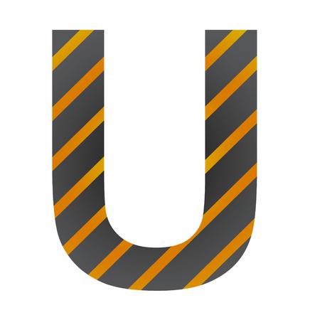 Letter U in industrial style on a white background