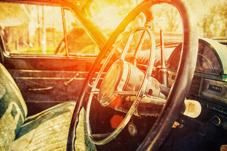 gearstick: Interior of a classic vintage car