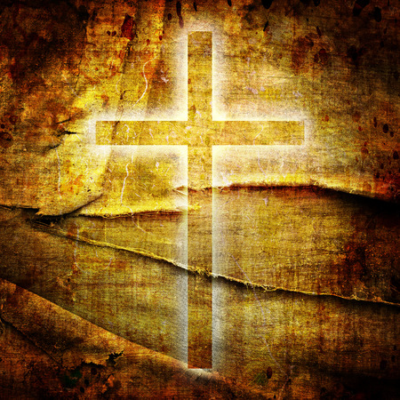 baptist: Christianity representation with the symbol of a cross on parchment