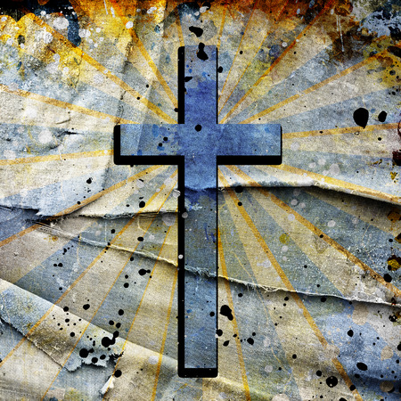 christianity: Christianity representation with the symbol of a cross on parchment