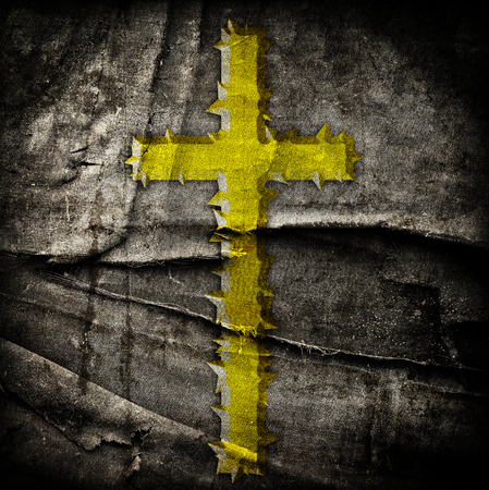 baptist: cross on abstract grunge background with scratches and stains Stock Photo