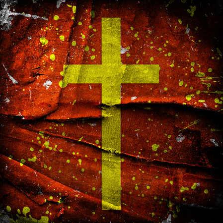 jesuit: cross on abstract grunge background with scratches and stains Stock Photo
