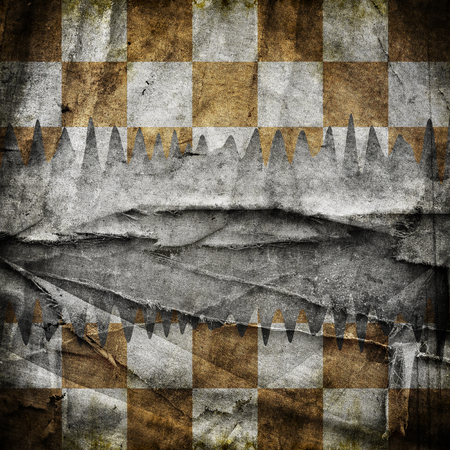checkered: Grungy chessboard background with scratches on old canvas Stock Photo