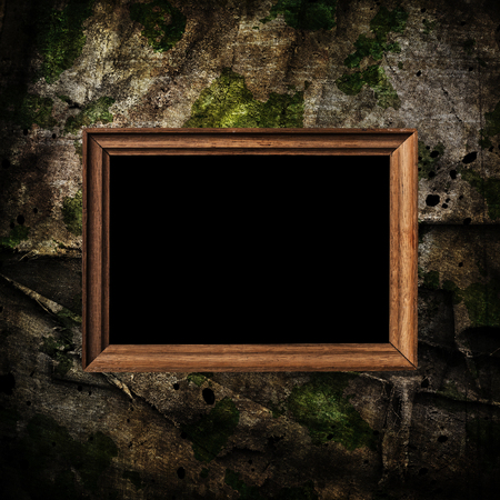 conceal: old brown wooden frame on military grunge background