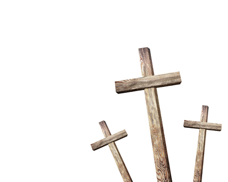 catholicism: Old brown wooden cross, on a white background