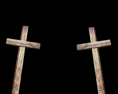 wooden cross: Old brown wooden cross, on a black background Stock Photo