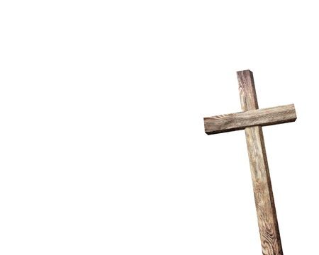 good spirits: Old brown wooden cross, on a white background