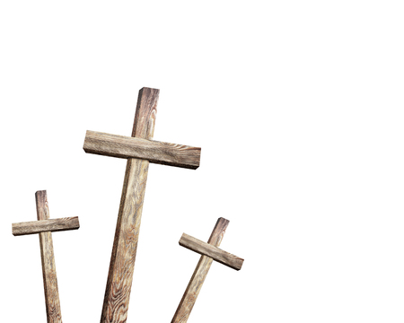 wooden cross: Old brown wooden cross, on a white background