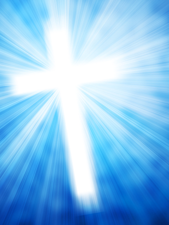 baptist: Abstract background with glowing cross and light rays