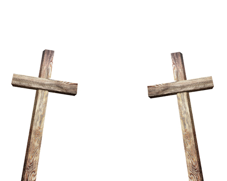 golgotha: Old brown wooden cross, on a white background