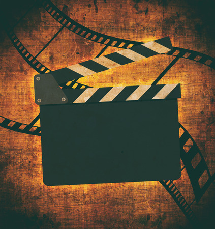 information age: Vintage background with film flame and scratches