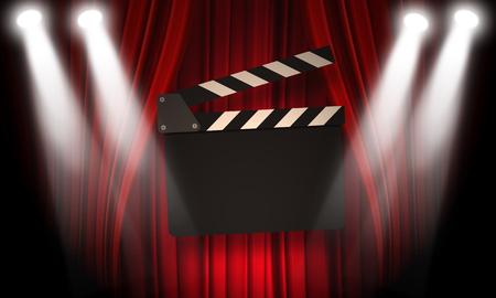 cinta pelicula: claqueta película en un fondo rojo con un pliegues
