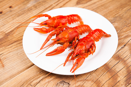 riverine: Boiled red crayfishes on a old brown wooden background