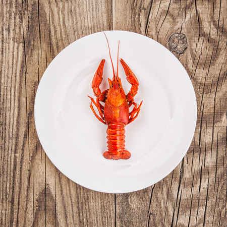 fluvial: Boiled red crayfishes on a old brown wooden background