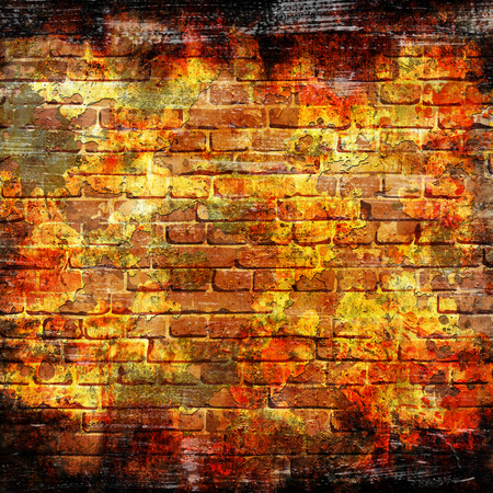 Background of grunge brick wall background with scratches and stains Stock Photo