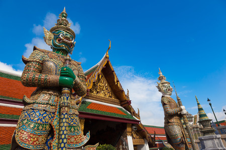 spiritual architecture: Demon Guardian in Wat Phra Kaew Grand Palace Bangkok Editorial
