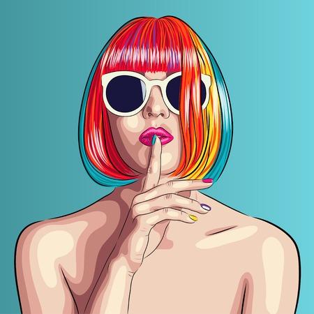 Vecteur belle femme portant perruque colorée et lunettes de soleil blanches Banque d'images - 70187938