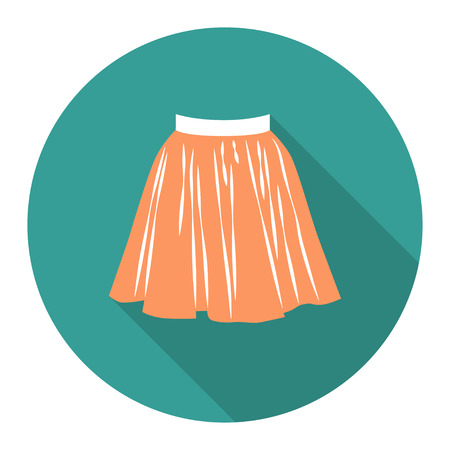 short skirt: vector round flat icon with short skirt