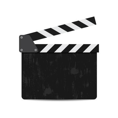 vector illustration of black film clapper isolated on white Ilustração Vetorial