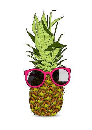 vector illustration of hand-drawn pineapple wearing sunglasses Illustration