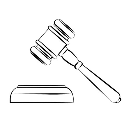 courthouse: vector illustration of court hammer in contours