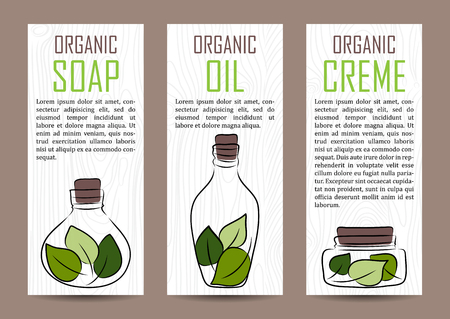 natural cosmetics: vector natural cosmetics shop products card template