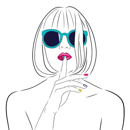 Vettoriale bella donna che indossa gli occhiali da sole in contorni Archivio Fotografico - 71267390