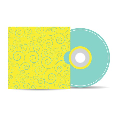 vector mock up template of blank compact disk with cover Illustration