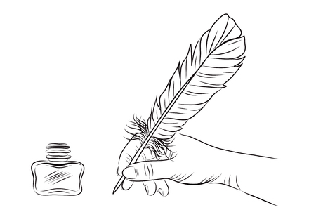 poet: vector illustration of a hand holding feather pen