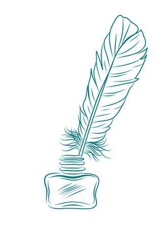 vector illustration of feather and inkpot isolated on white Illustration
