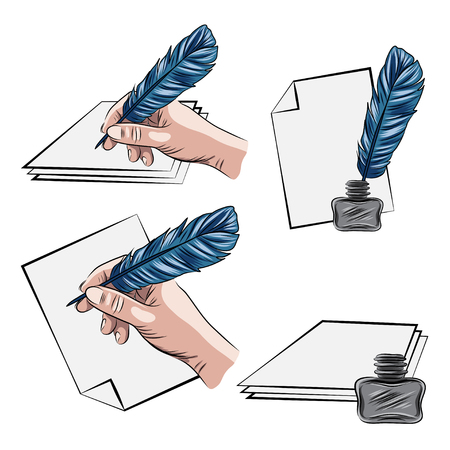poet: vector illustrations of hand holding feather pen aand inkpot Illustration