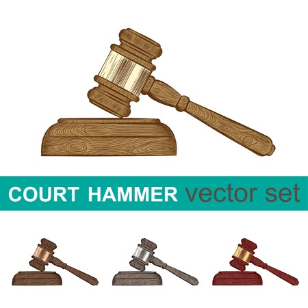 vector set of four court hammers in different colors