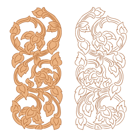 vector illustration of traditional golden Thai ornament