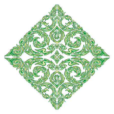 vector illustration of traditional green Thai ornament. EPS