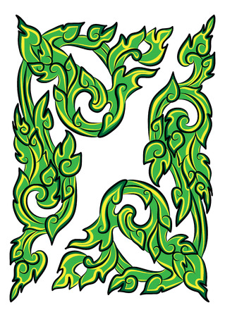 vector illustration of traditional green Thai ornament