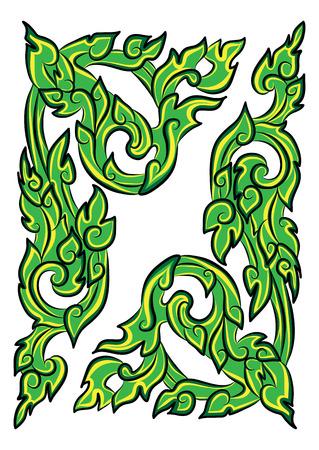 vector illustration of traditional green Thai ornament Stock Vector - 71267744