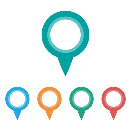 vector set of five colorful location points