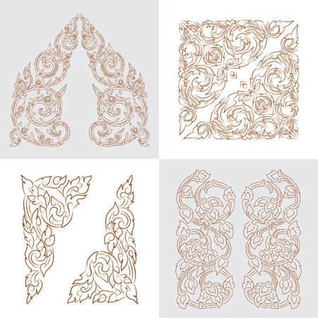 vector set of traditional golden Thai ornaments Illustration
