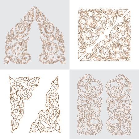 vector set of traditional golden Thai ornaments Stock Vector - 71267846