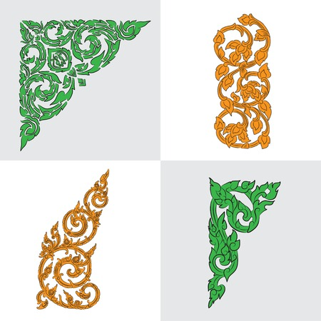 vector set of traditional orange and green Thai ornaments Illustration